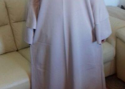 abaya robe longue manche double volant couleur beige