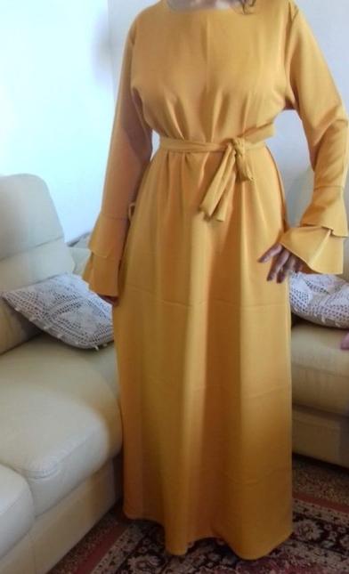 robe abaya manche double volant avec ceinture