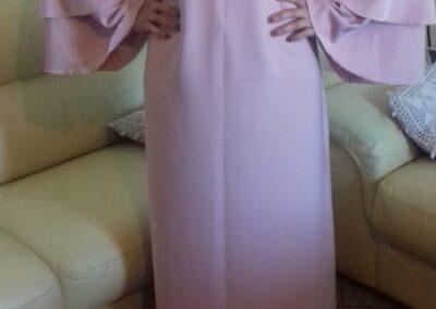abaya robe longue manche double volant couleur rose