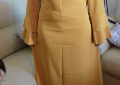 robe abaya longue manche double volant couleur moutarde