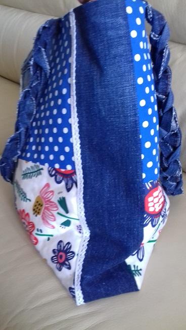 Sac en jeans patchworks brut petit pois fleuri