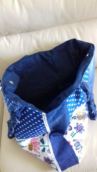 Grand sac fourre-tout en jeans brut façon patchworks petit pois fleuri