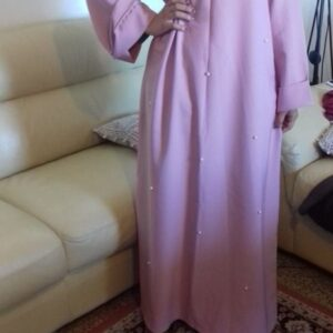 robe abaya large longue perlé rose