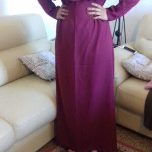 robe abaya longue col rond volant poitrine manche longue